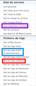 fichiers de logs ISP Config