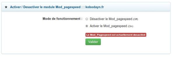 Activer le Page Speed - LWS Panel