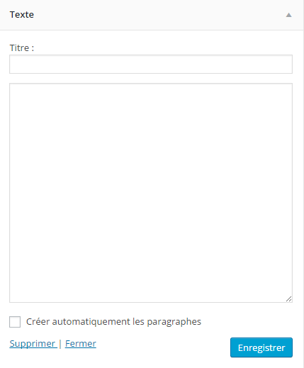 widget-WordPress-texte