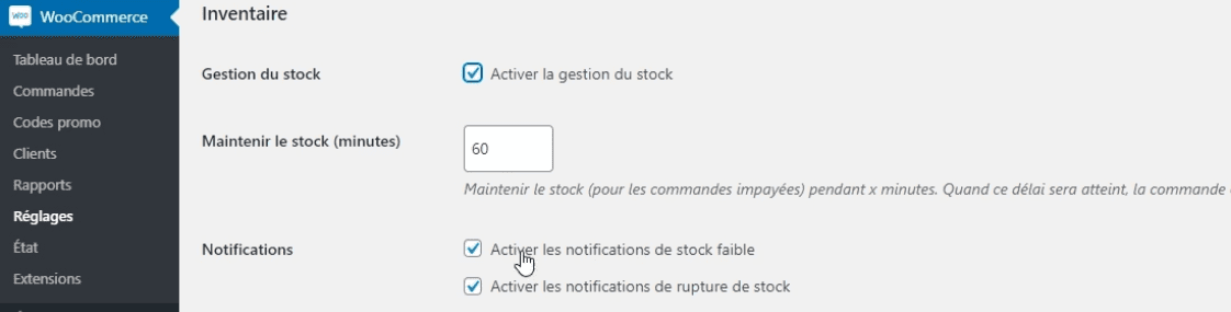 Gestion stock boutique woocommerce